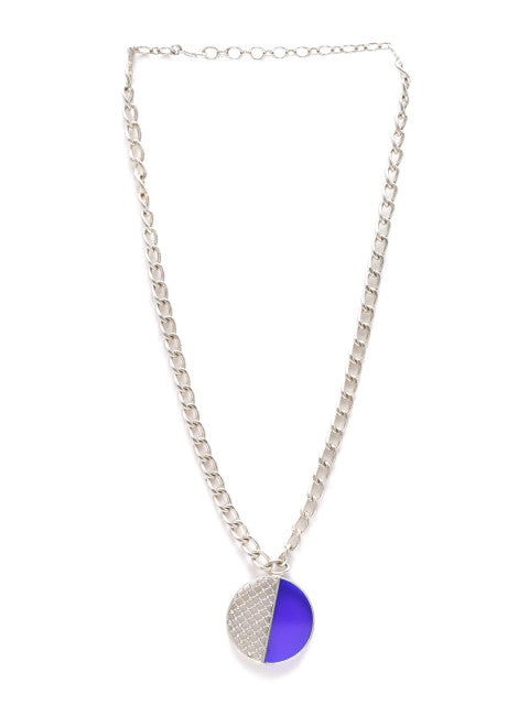 Blue silver-plated handcrafted necklace