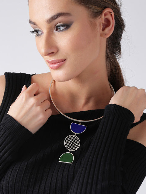 Blue and green silver-plated handcrafted necklace