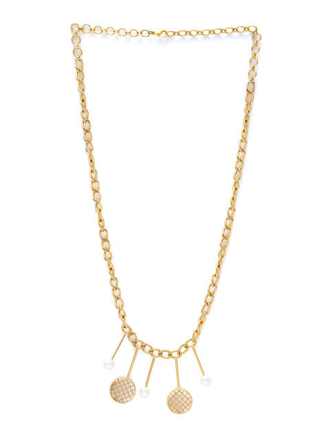 Gold-plated handcrafted matinee necklace