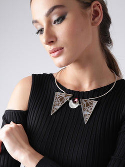 Purple and brown silver-plated handcrafted collar necklace