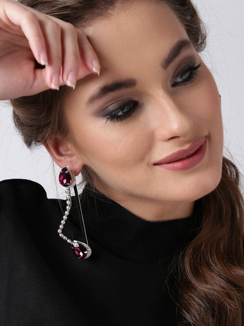 A pair of purple silver-plated crystal-studded drop earrings