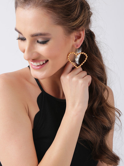 A pair of gold-plated handcrafted heart-shaped beaded drop earrings