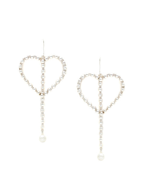 A pair of silver-plated handcrafted heart-shaped beaded drop earrings