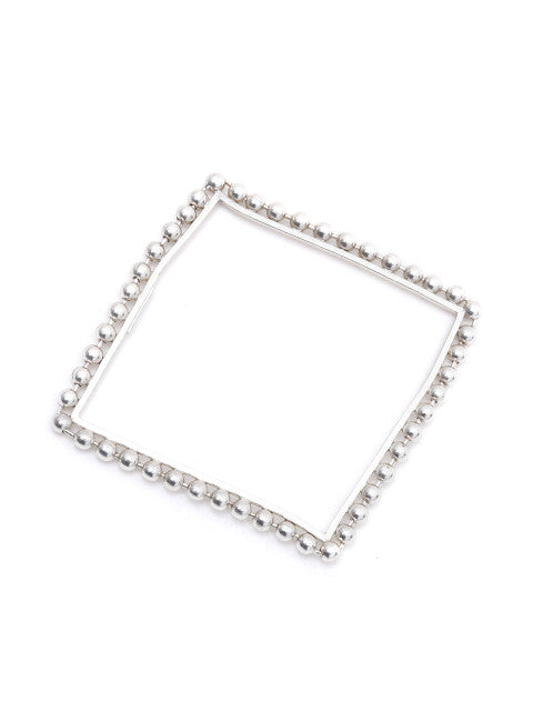 Silver-plated handcrafted square bracelet, has metallic bead detail