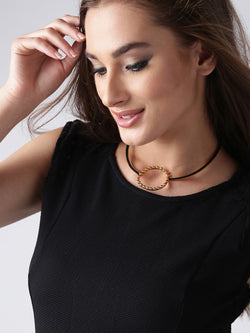 Black gold-plated handcrafted necklace with cut-out detail