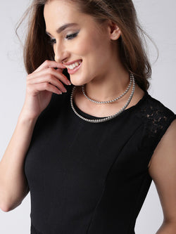 Silver-plated handcrafted crescent-shaped necklace