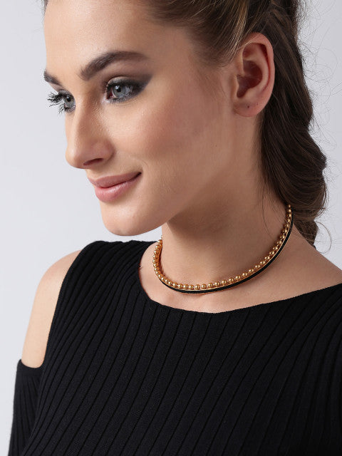 Black gold-plated choker necklace with metallic beads