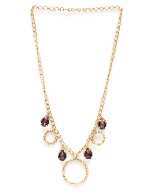 Purple gold-plated handcrafted necklace