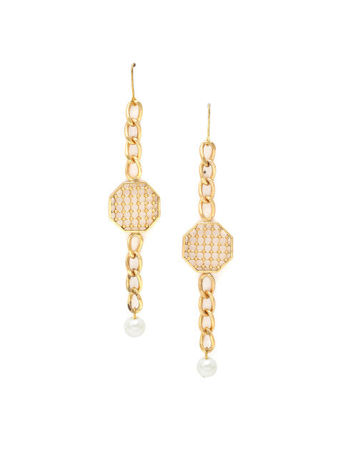 A pair of off-white gold-plated handcrafted drop earrings