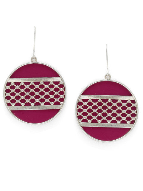 A pair of dark pink silver-plated handcrafted drop earrings