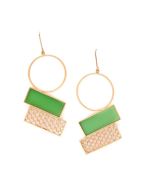 A pair of green gold-plated handcrafted drop earrings