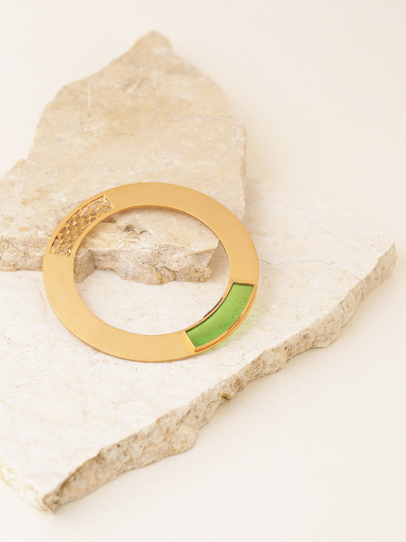 Green gold-plated handcrafted bangle with cut-out detail