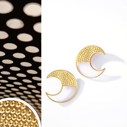 Gold Toned Crescent Acrylic Stud Earrings With Beaten Metal Detail