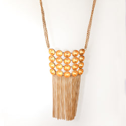 Chain link necklace with rectangular pendant and tassel