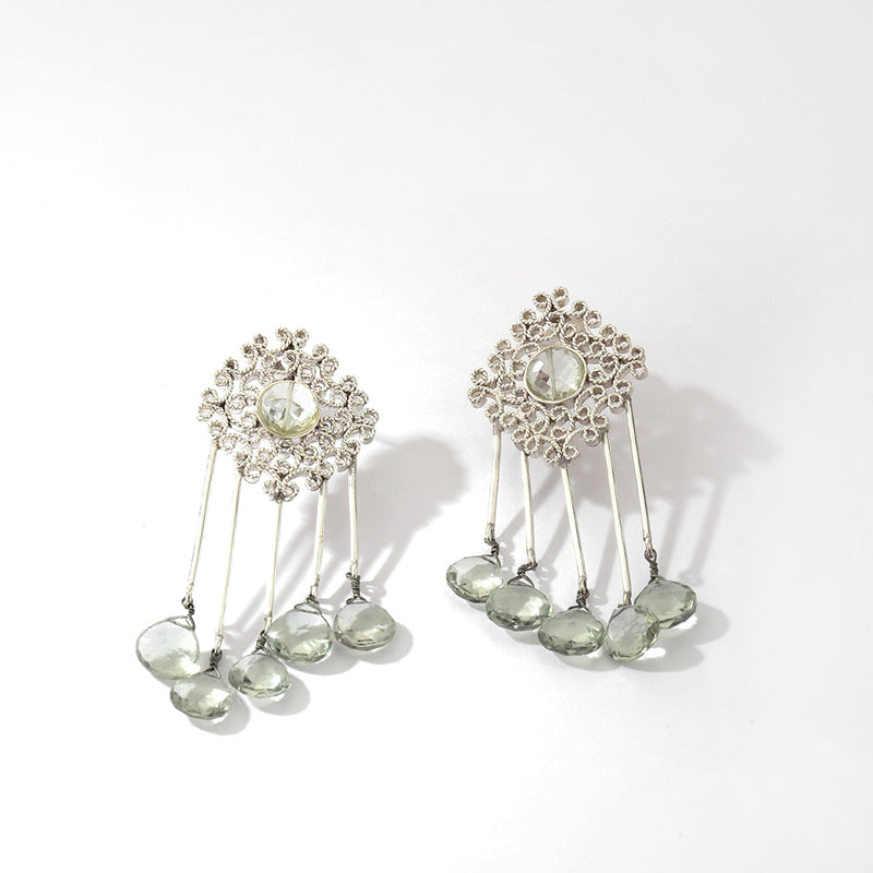 Sterling silver earrings with filigree and stone detailing