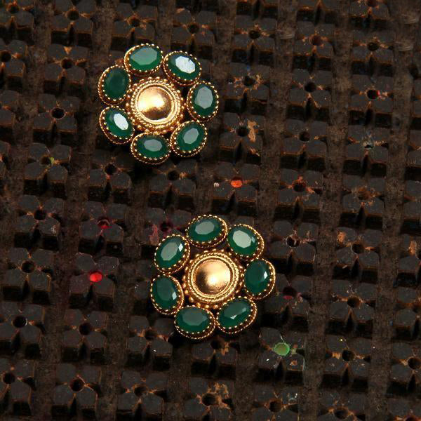 Gold Toned Circle Stud Earrings with Green Crystals