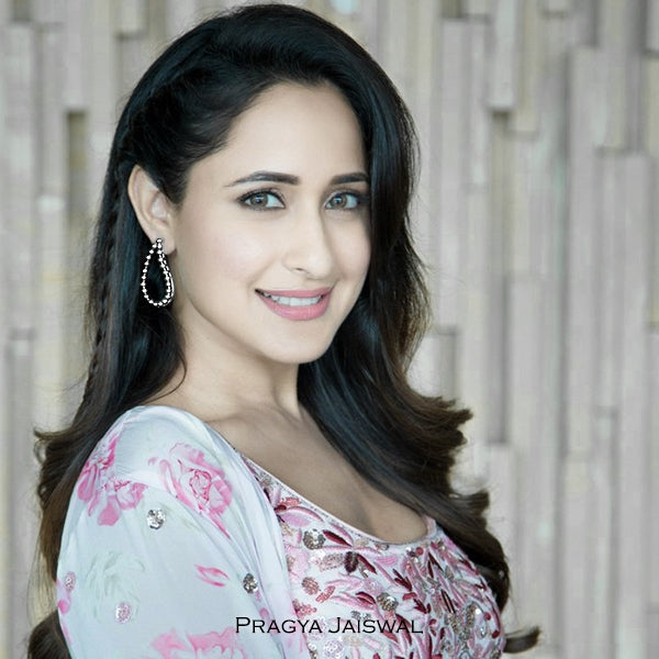 Silver Paisley Aakaar Stud Earrings Worn By Pragya Jaiswal