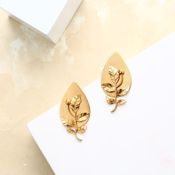 Gold Drop Shaped Foliage Stud Earrings