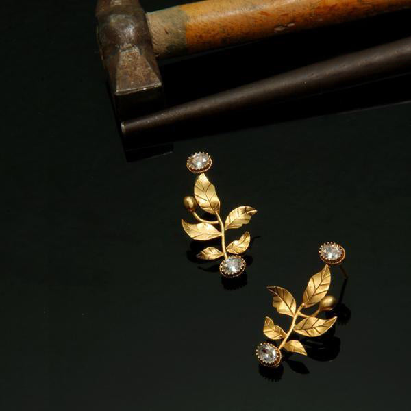 Gold Serrate Leaves Earrings with Crystals