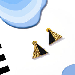 Gold Toned Triangle Perspex Stud Earrings With Beaten Metal Detail