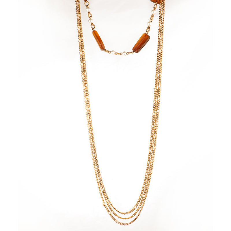 GOLD PLATED 3 LINE CHAIN LONG NECKPIECE WITH ORANGE CHALCEDONY
