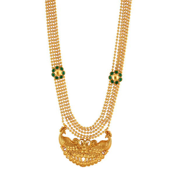 Gold Toned Ball Chain Mayura Necklace With Green Crystals