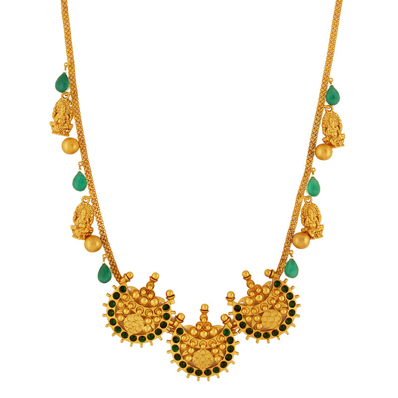 Gold Toned Ganesha & Chandra Motif Necklace