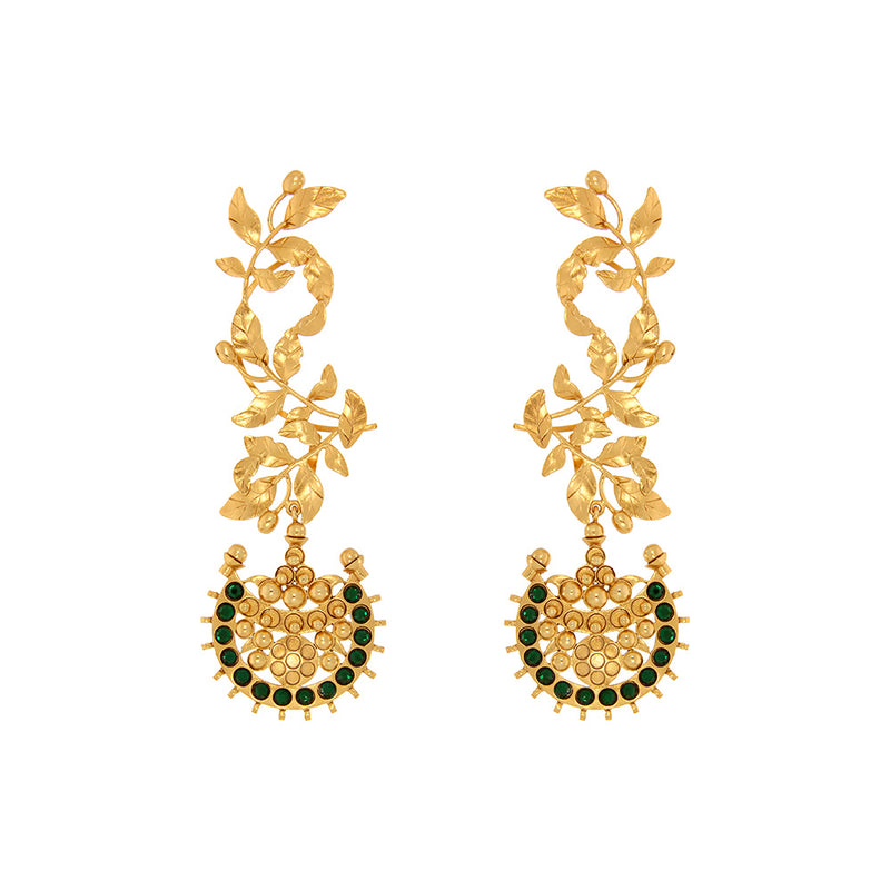 Gold Toned Rose Vine Ear Cuffs With Chandra Motifs