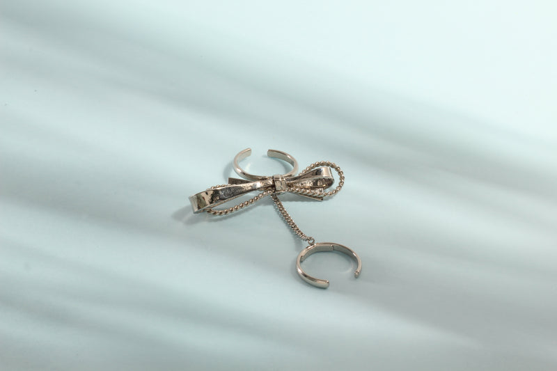 CHROME PLATING BOW TWIN RING WITH CHAIN
