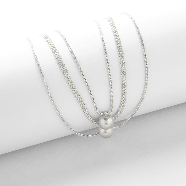Silver Toned Three Layer Necklace with Ball Pendant