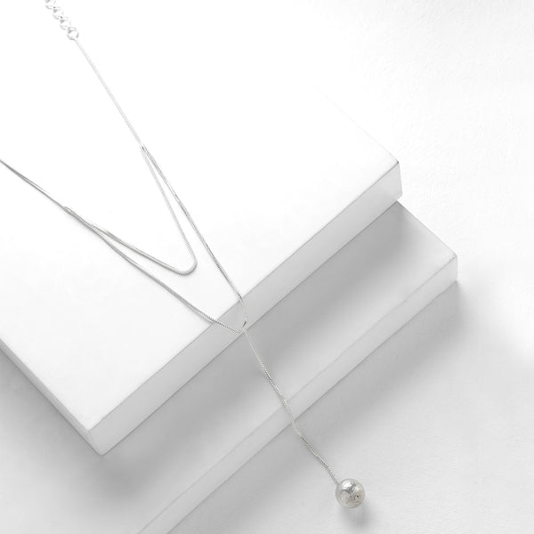 Silver Toned Double Layered Lariat Necklace with Ball Details
