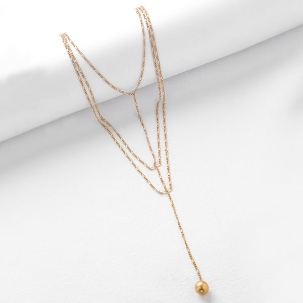 Gold Toned Layered Lariat Necklace with Ball Details
