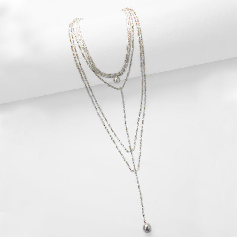 Silver Toned Multi-Layer Chain Necklace with Ball Pendants