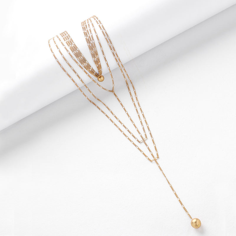 Gold Toned Layered Chain Necklace with Ball Pendants