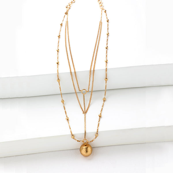 Gold Toned Beaded String Necklace with Ball Pendant
