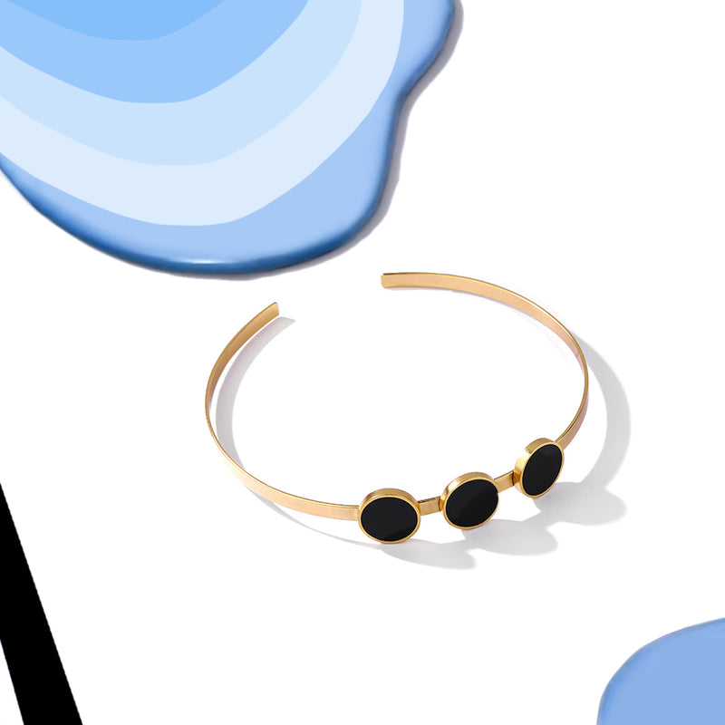 Gold Toned Open Choker Necklace With Black Perspex Discs