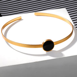 Gold Toned Open Choker Necklace With Single Black Perspex Disc