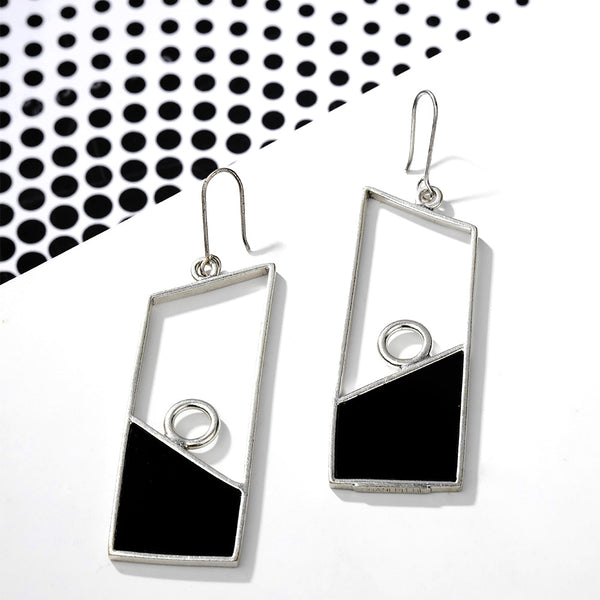 Silver Toned Geometric Drop Earrings With Black Perspex