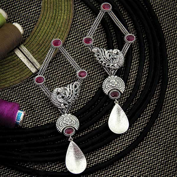 Oxidised Silver Diamond Shaped Peacock Drop Earrings with Pink Crystals
