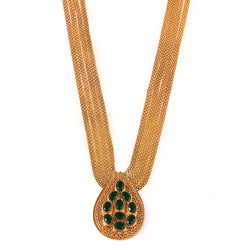 GOLD PLATED CHAIN NECKLACE WITH DROP SHAPED PENDANT