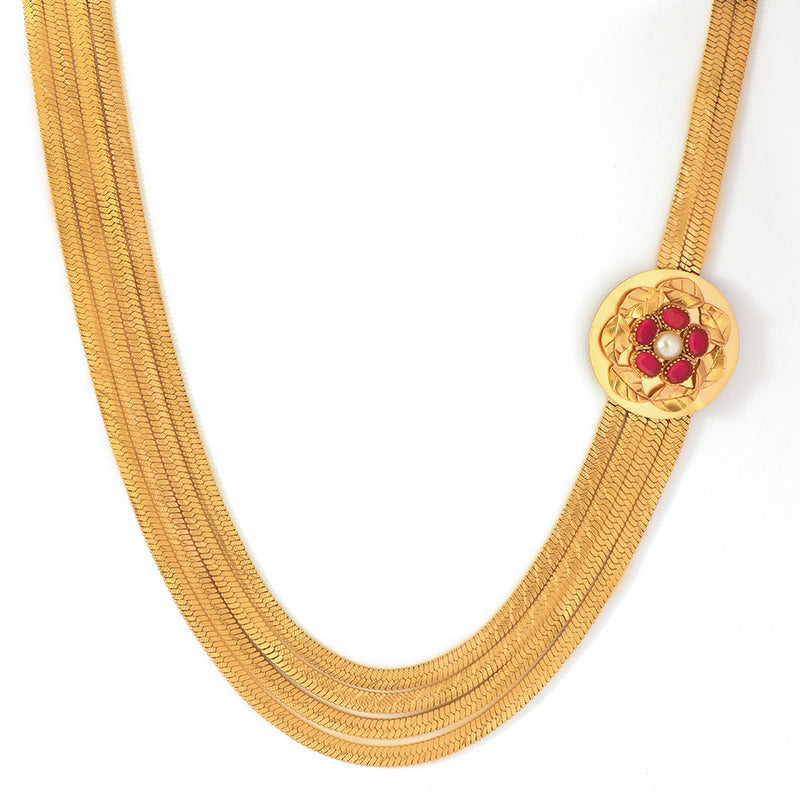 GOLD PLATED NECKLACE WITH SERRATE AND PINK CRYSTAL