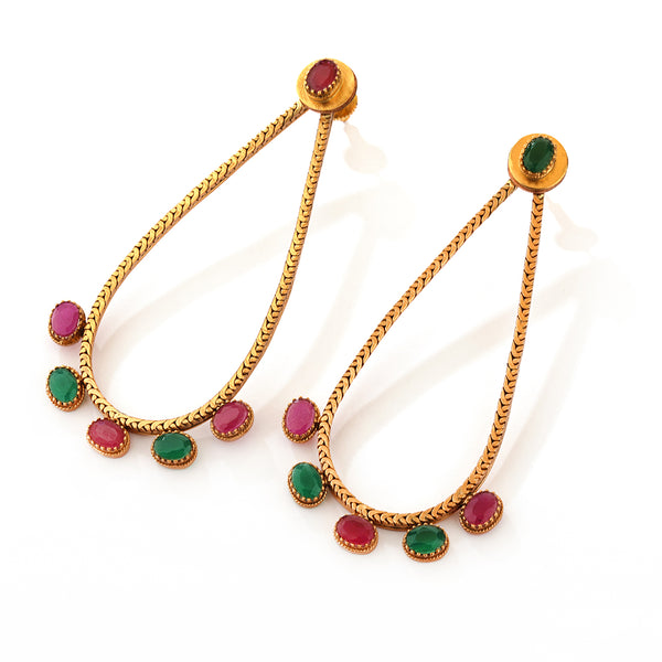 GOLD PLATED DROP EARRING with crystal