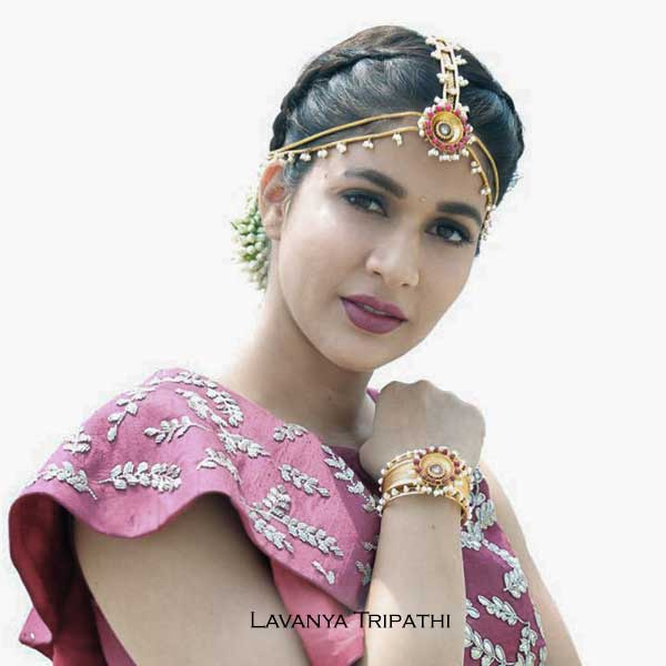 Gold Toned Multi-Chain Maangtika with Ruby & Pearl Medallion Worn By Lavanya Tripathi