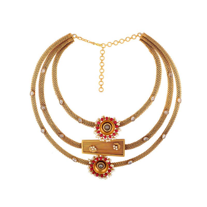 Gold Toned Triple Layer Pendant Necklace With Ruby & Pearls