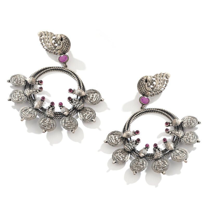 Oxidised 92.5 Silver Coin Bali Earrings WIth Pink Crystals - Worn by Tejaswi Madivada