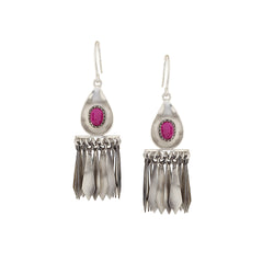 Sterling Silver Tassel Jhumki Drop Earrings With Pink Crystals