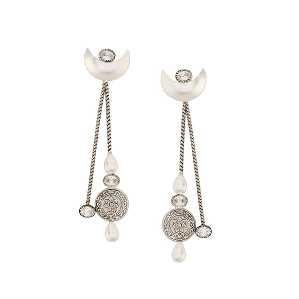 Sterling Silver Crescent Moon Earrings With Tribal Floral Motifs