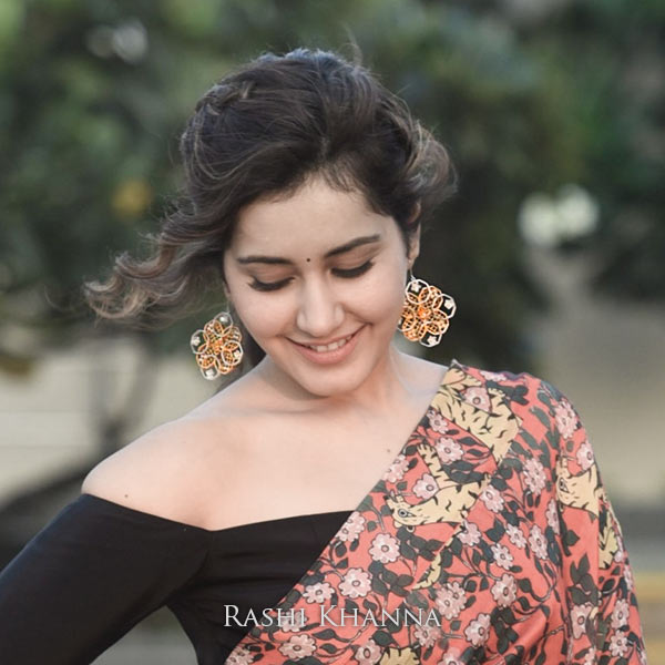 Gold & Silver Toned Octagonal Mesh Drop Earrings with Pearls Worn By Rashi Khanna