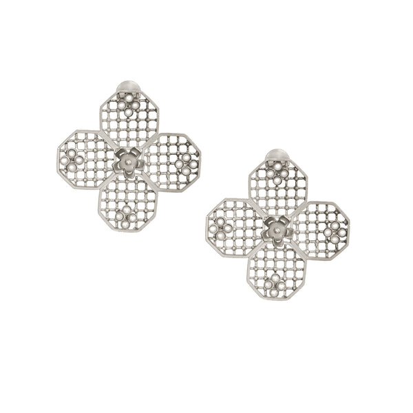 SILVER PLATED HONEYCOMB EARRING WITH FLOWER AND MOTI COLLET