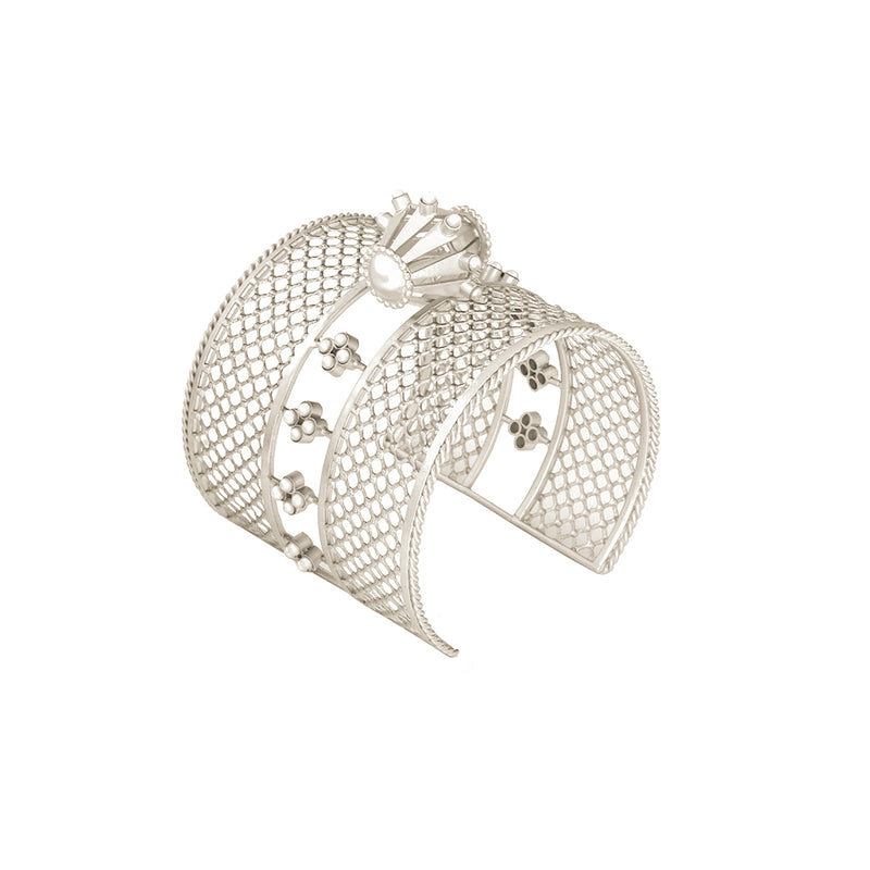 SILVER PLATED LATTICE CUFF WITH DAMRU AND MOTI COLLET